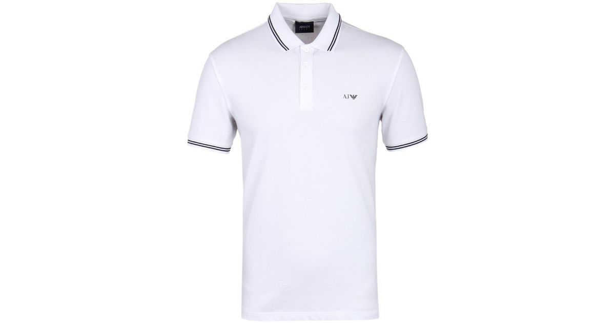 a700273b Armani Jeans White Twin Tipped Short Sleeve Polo Shirt in White for Men -  Lyst