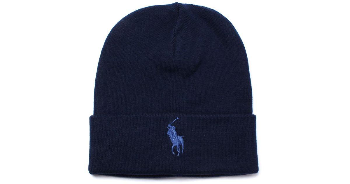 Polo Ralph Lauren Hunter Navy Fold Over Jersey Beanie Hat in Blue for Men -  Lyst 476c8ac4756