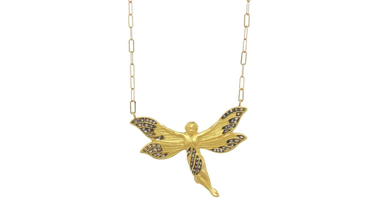 Lyst cathy waterman diamond fairy pendant necklace in metallic aloadofball Image collections