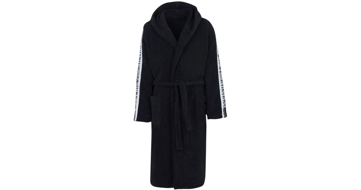 Emporio Armani Towelling Dressing Gown in Black for Men - Lyst cd1798ac1