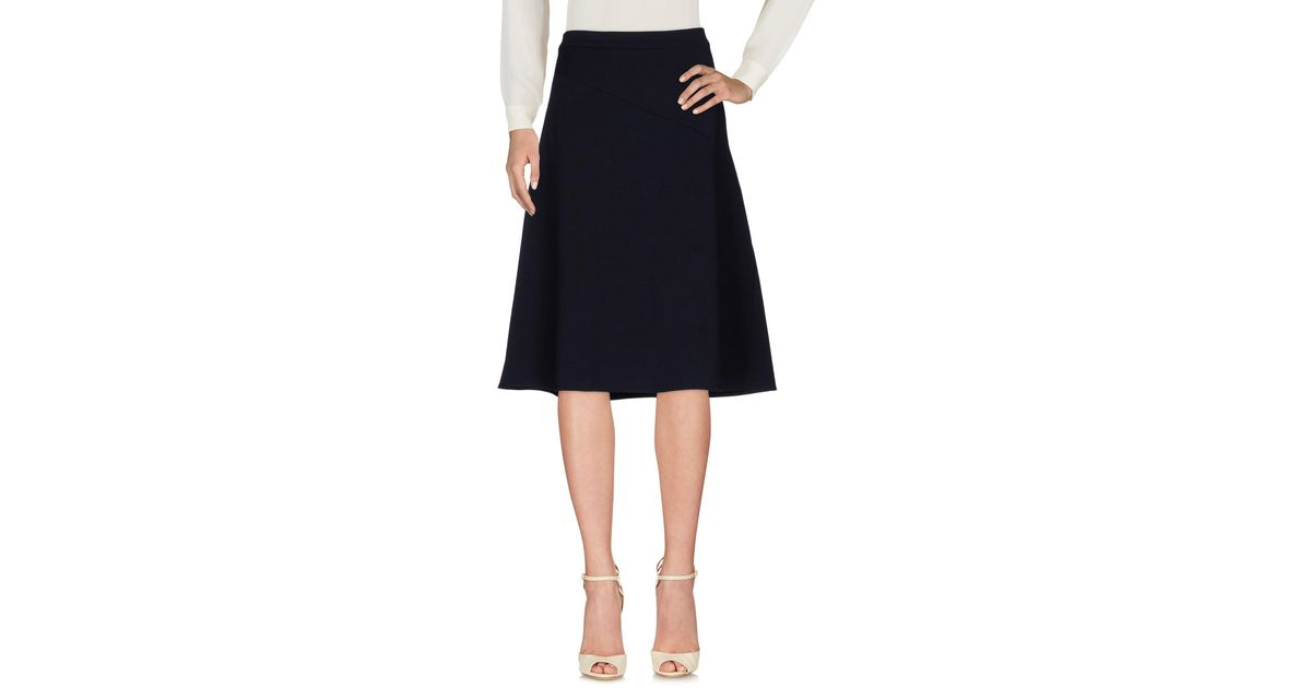 Lyst jil sander 3 4 length skirt in blue for 20 34 35 dress shirts