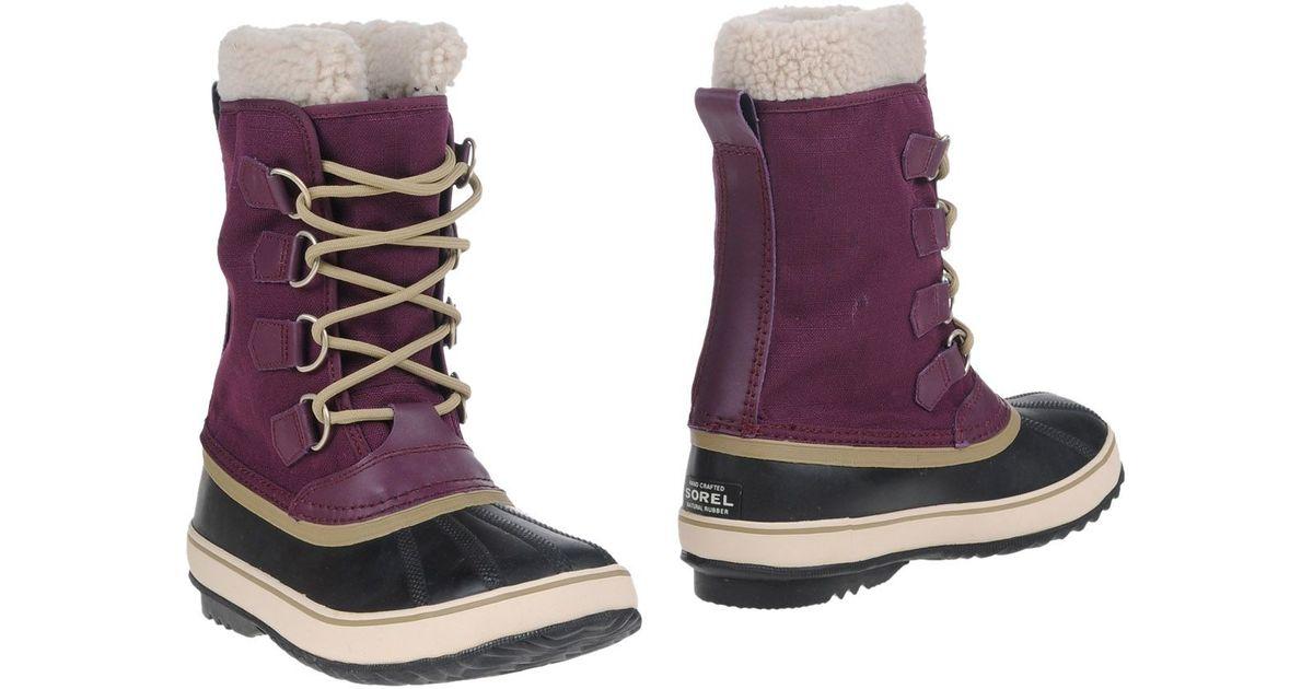 sorel ankle boots in purple lyst