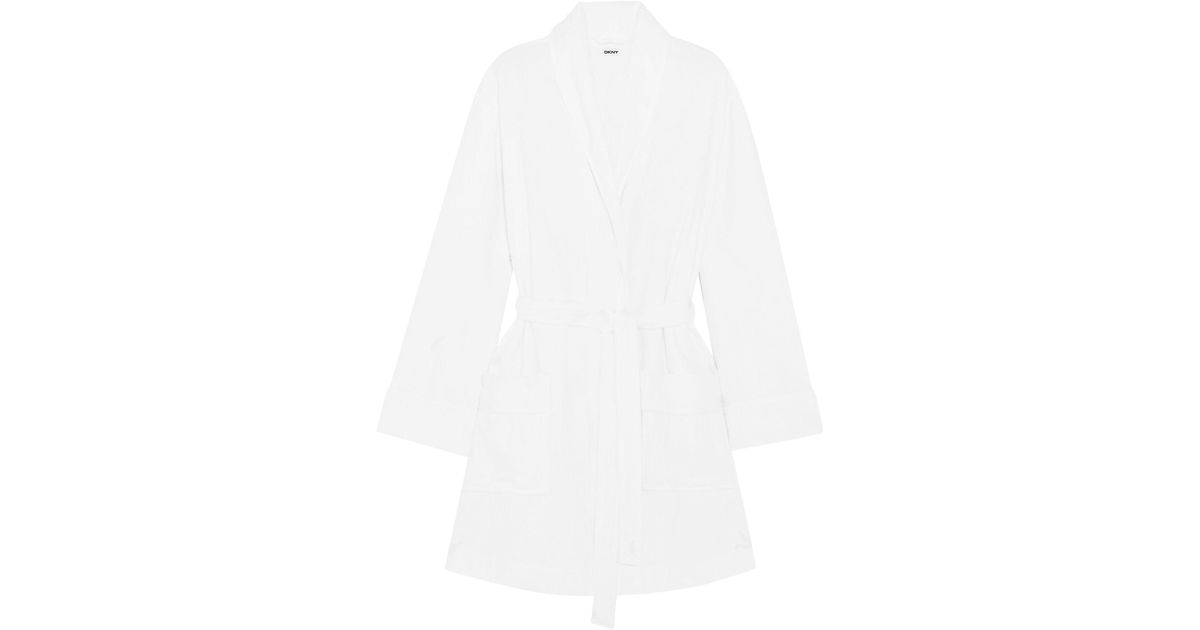Dkny Towelling Dressing Gown In White Lyst
