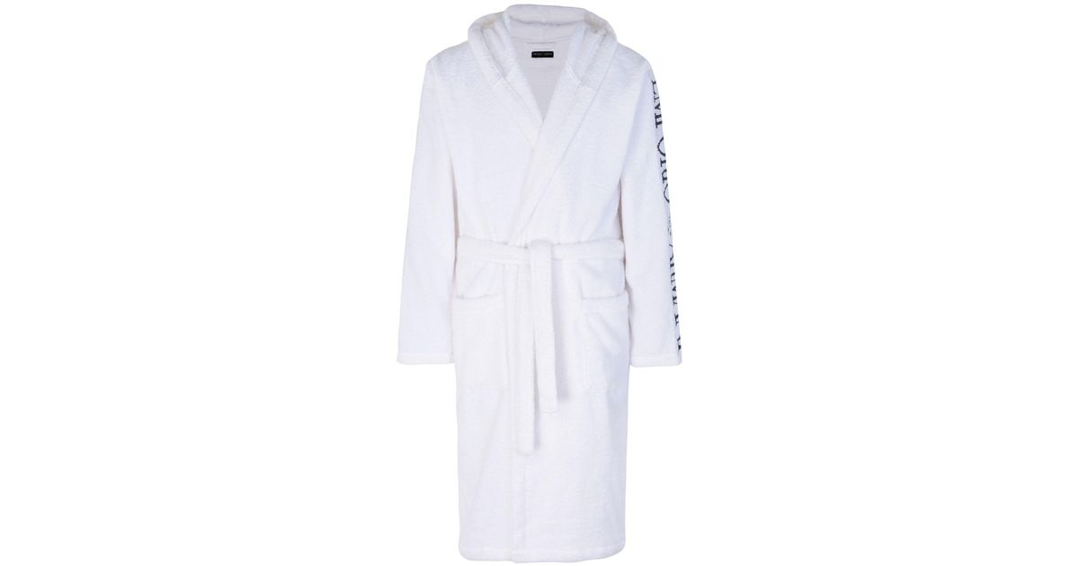 Emporio Armani Towelling Dressing Gown In White For Men Lyst