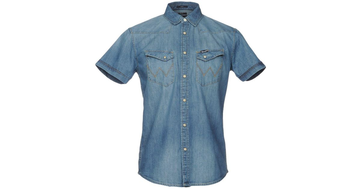 Wrangler denim shirt in blue for men lyst for Wrangler denim shirts uk