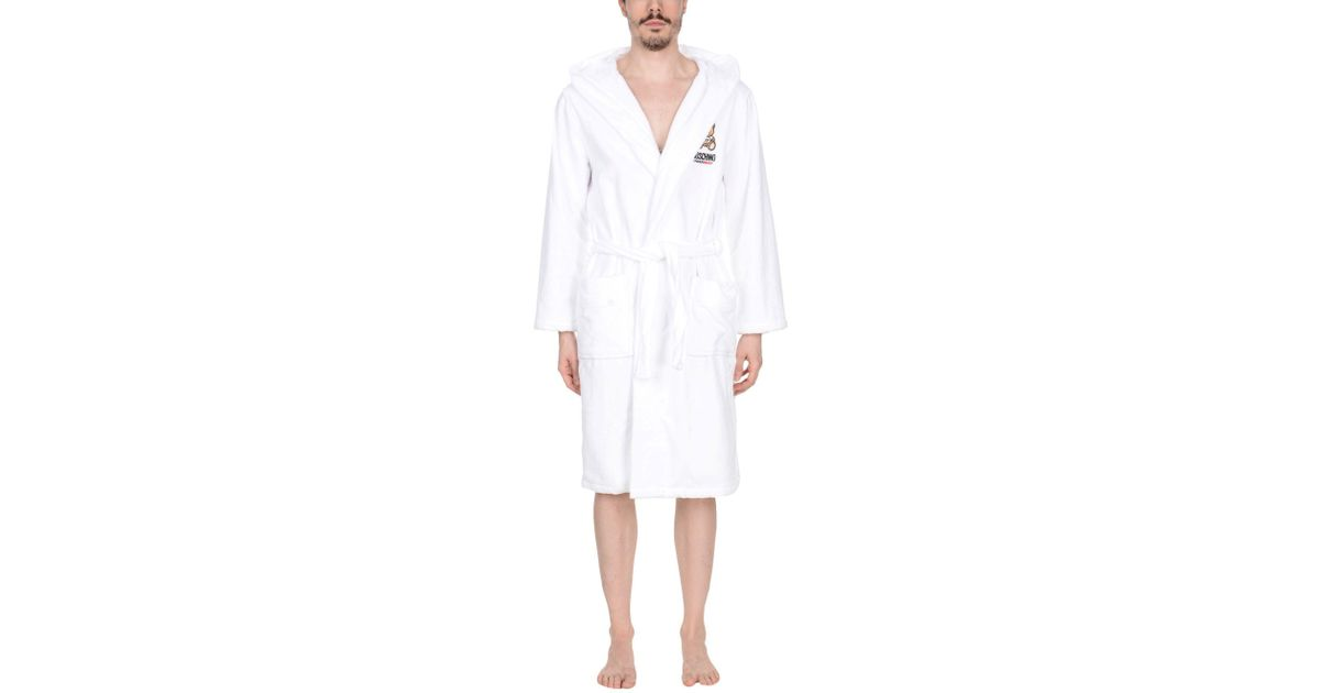 Moschino Towelling Dressing Gown in White for Men - Lyst