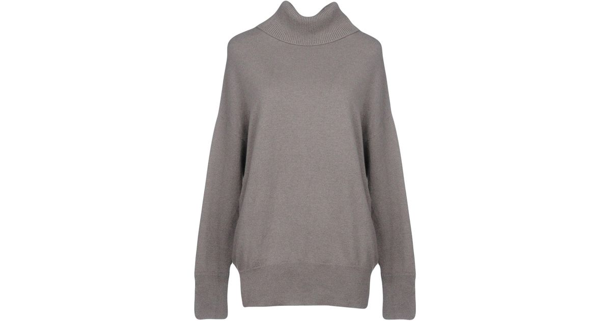 Cheap Sale Pictures Cheap Sale High Quality Iris & Ink Woman Spencer Cashmere Turtleneck Sweater Light Gray Size L IRIS & INK wH1tP