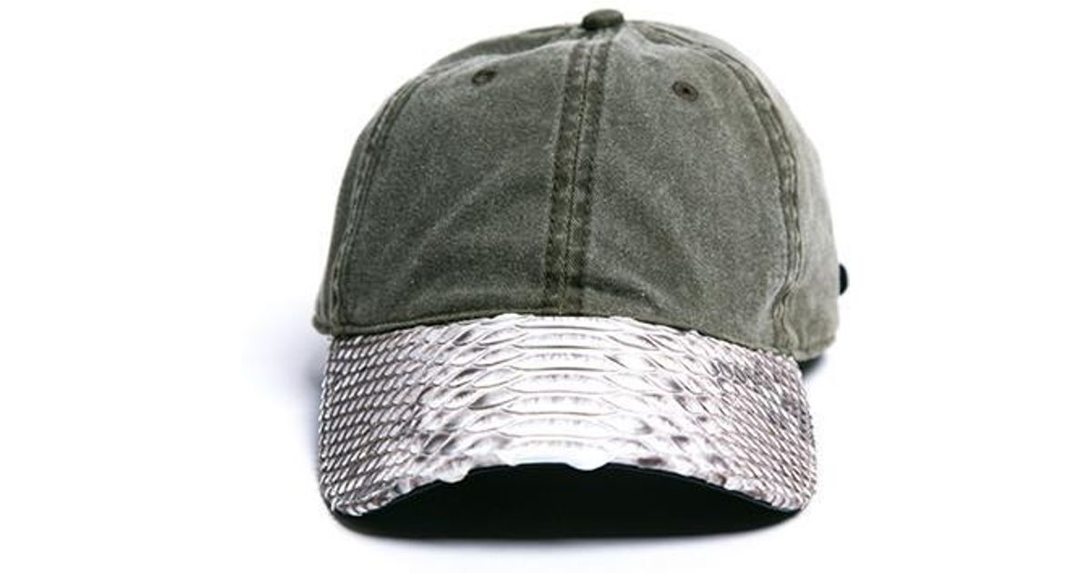 7d0665ba41c Lyst - Daily Doses Doses Distressed Snakeskin Strapback for Men