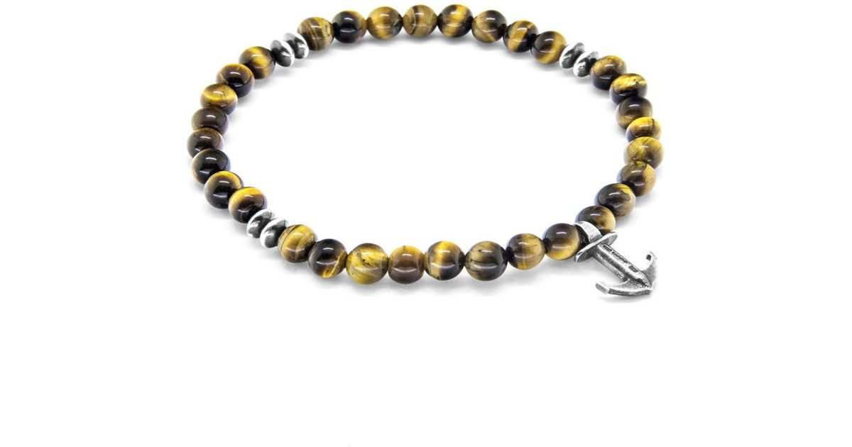 Anchor & Crew Brown Tigers Eye Outrigger Silver and Stone Bracelet TCUYrh