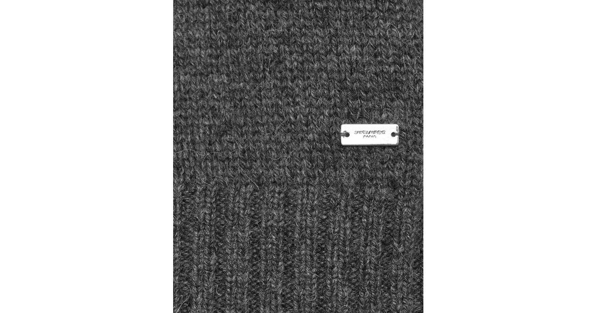 6d30c765cb Saint Laurent - Gray Drop Shoulder Crewneck Sweater In Anthracite Grey  Camel Hair for Men - Lyst