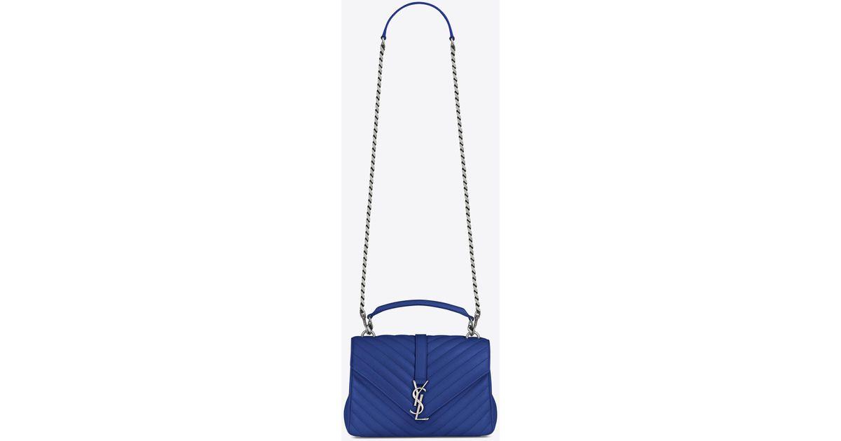 Lyst - Saint Laurent Medium College Bag In Royal Blue Matelassé Leather in  Blue c23d48ee98a24