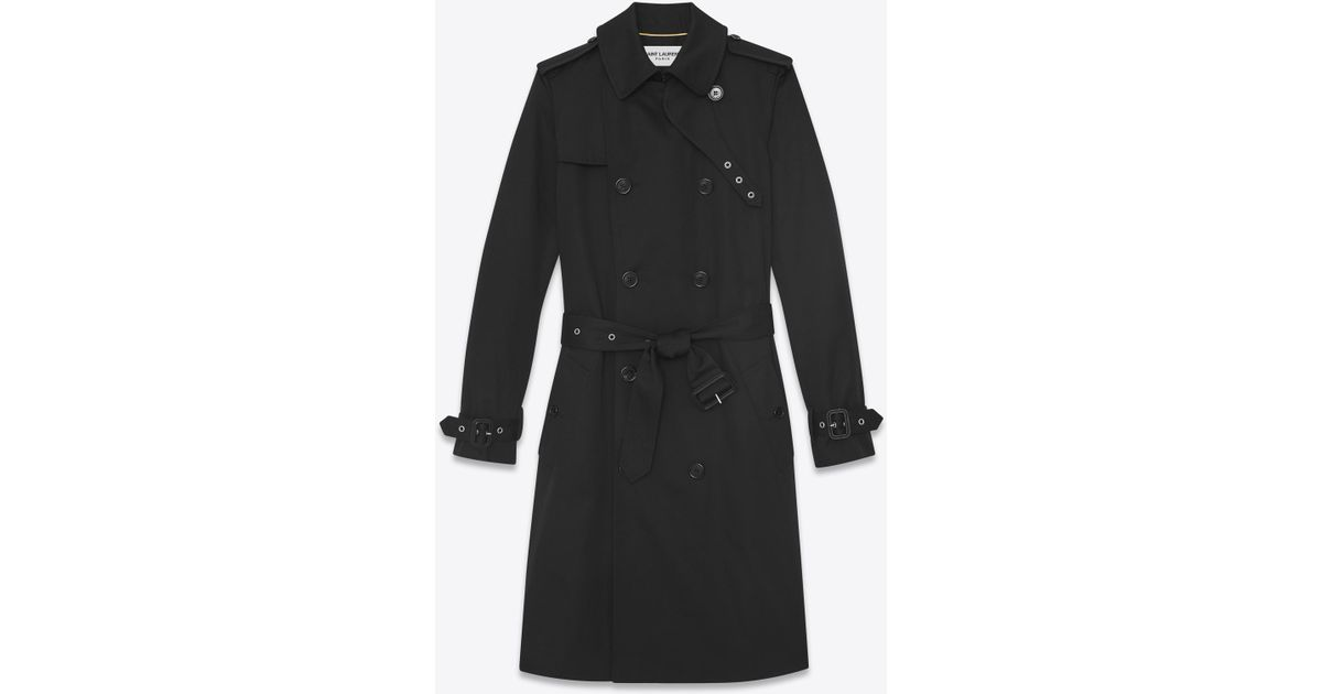 940f64ad29c Lyst - Saint Laurent Double Breasted Belted Trench Coat In Black Gabardine  in Black