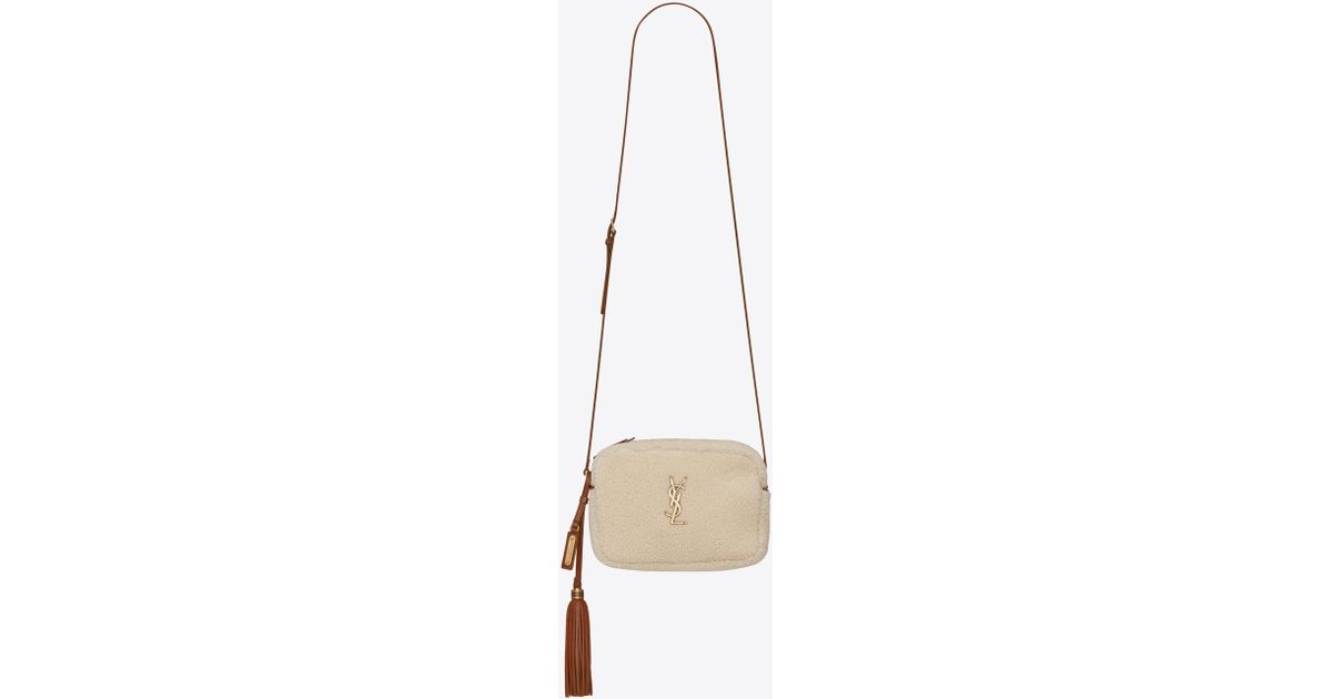 153d2765a564 Lyst - Saint Laurent Lou Camera Bag In Shearling And Leather in White