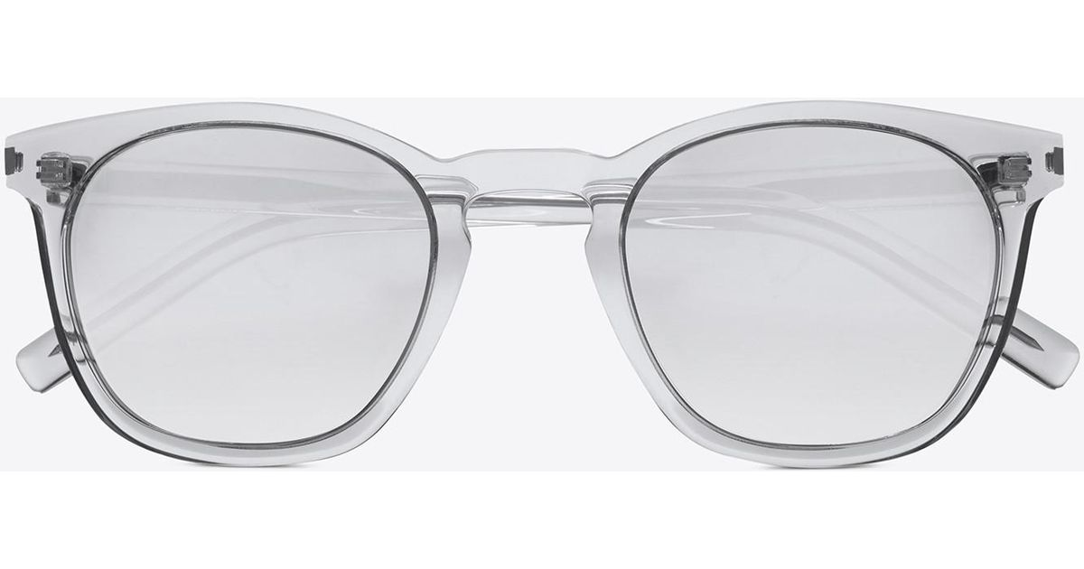 8aeea0358b1 Saint Laurent Classic 28 Sunglasses In Clear Acetate With Light Silver  Mirrored Lenses in Metallic - Lyst