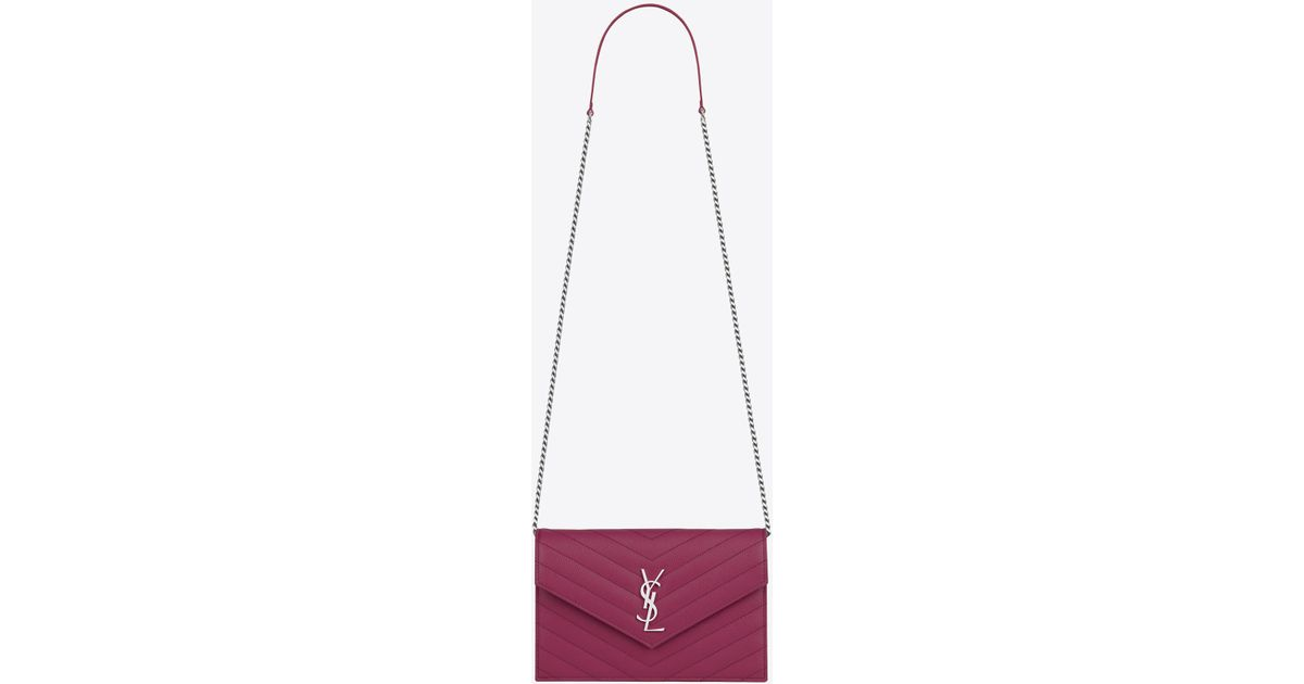5ccf7e7512a2 Lyst - Saint Laurent Envelope Chain Wallet In Peony Pink Textured Matelassé  Leather in Purple