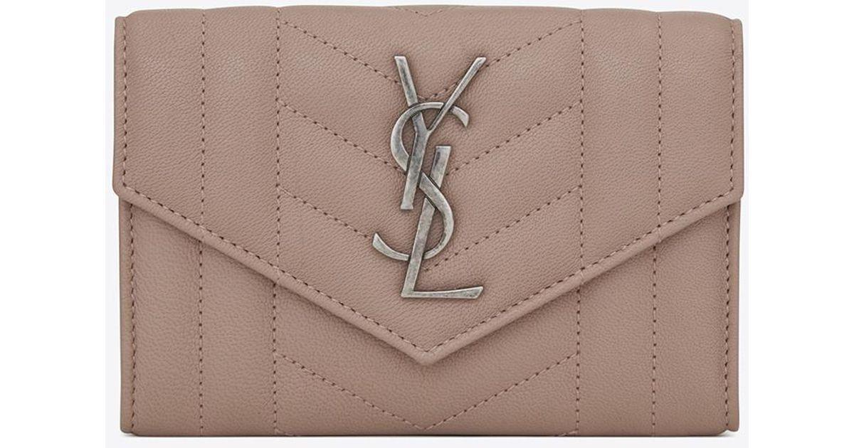41193dda50c Saint Laurent Small Monogram Envelope Wallet In Rose Mixed Matelassé Leather  in Pink - Lyst