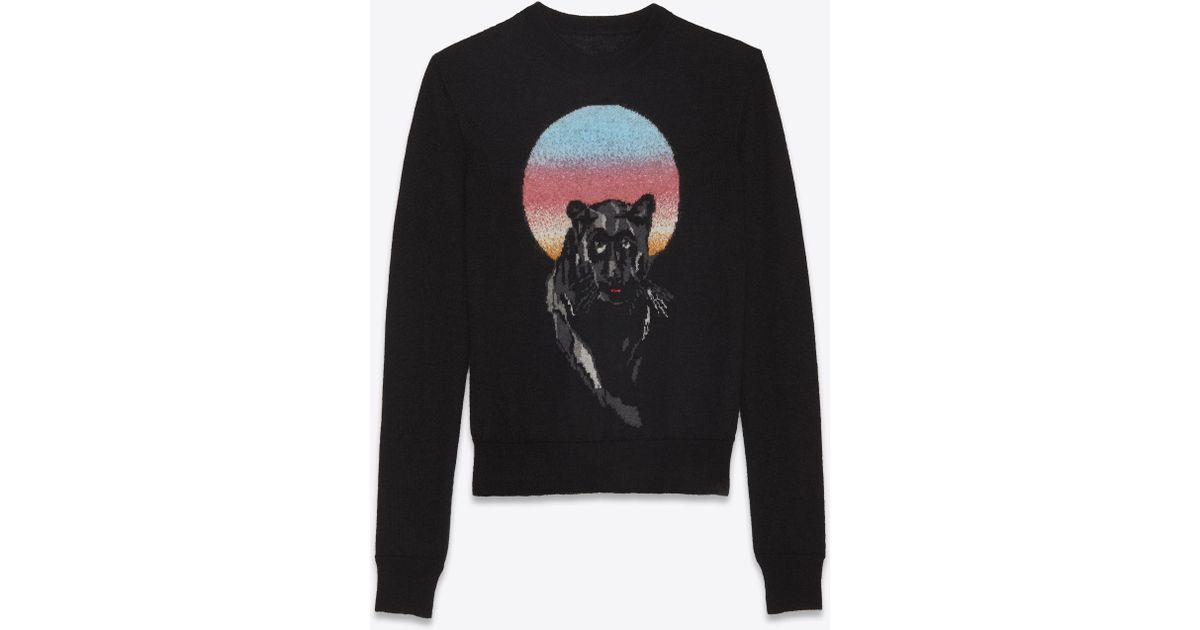 4637f9c2b5 Saint Laurent - Panther Pullover In Black Jacquard Knit - Lyst