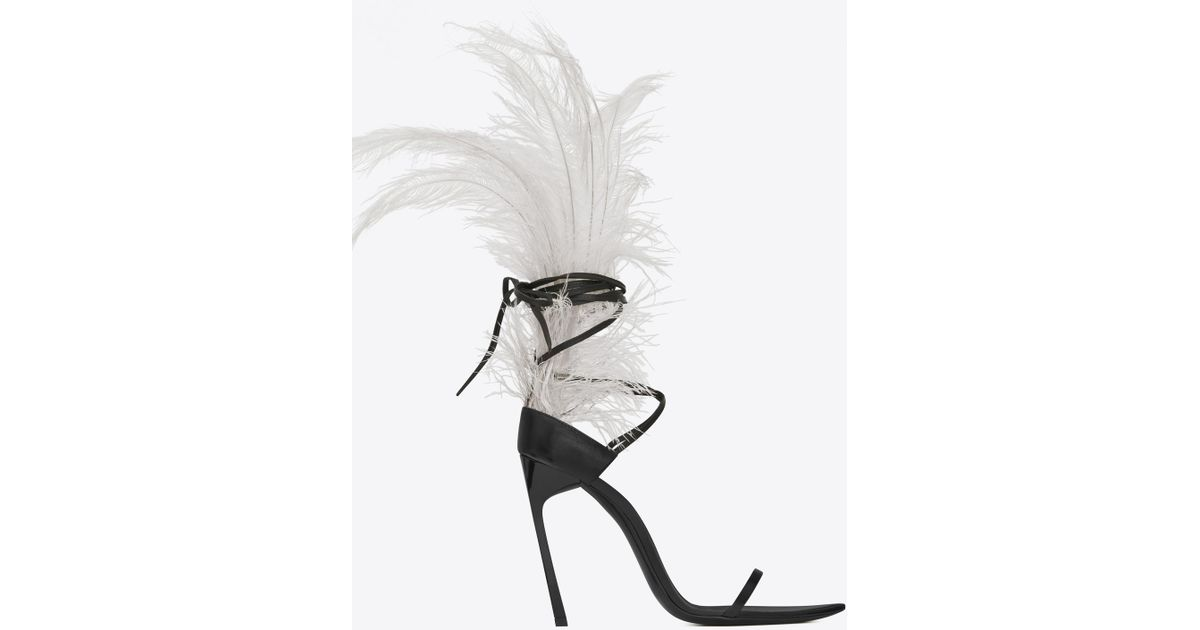 6debc7db3a9 Lyst - Saint Laurent Iris 105 Sandal In Black Leather And Beige Ostrich  Feathers in Black