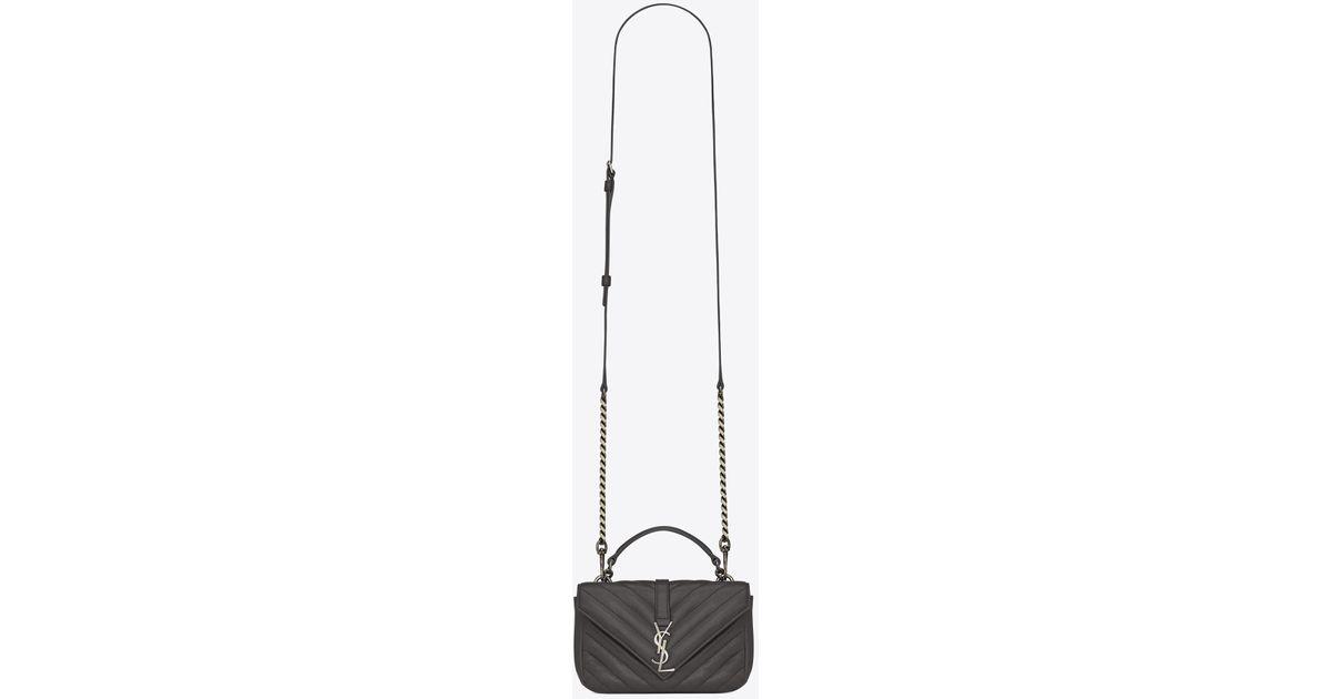 21aede4f9f4a Lyst - Saint Laurent Monogram College Chain Wallet Leather Shoulder Bag in  Black