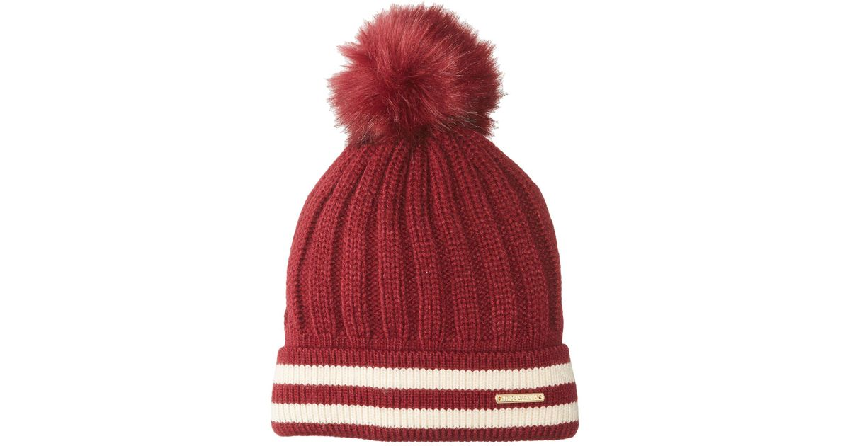 ac20c9a885ac7 Lyst - Vince Camuto Varsity Stripe Pom Beanie in Red for Men