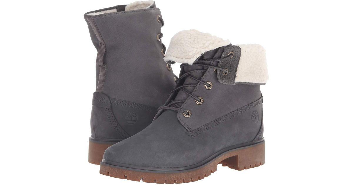 super cute 77761 a6d97 Timberland Jayne Waterproof Teddy Fleece Fold Down (black Full Grain)  Women s Lace-up Boots in Gray - Lyst