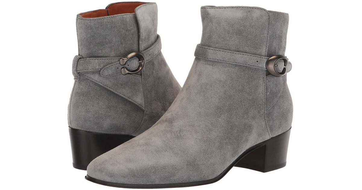 Lyst Coach Chrystie Suede Buckle Ankle Booties In Gray