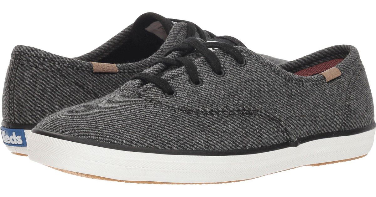 ba0ca6ceb9f632 Lyst - Keds Champion Twill Stripe Jersey (charcoal) Women s Lace Up Casual  Shoes in Gray