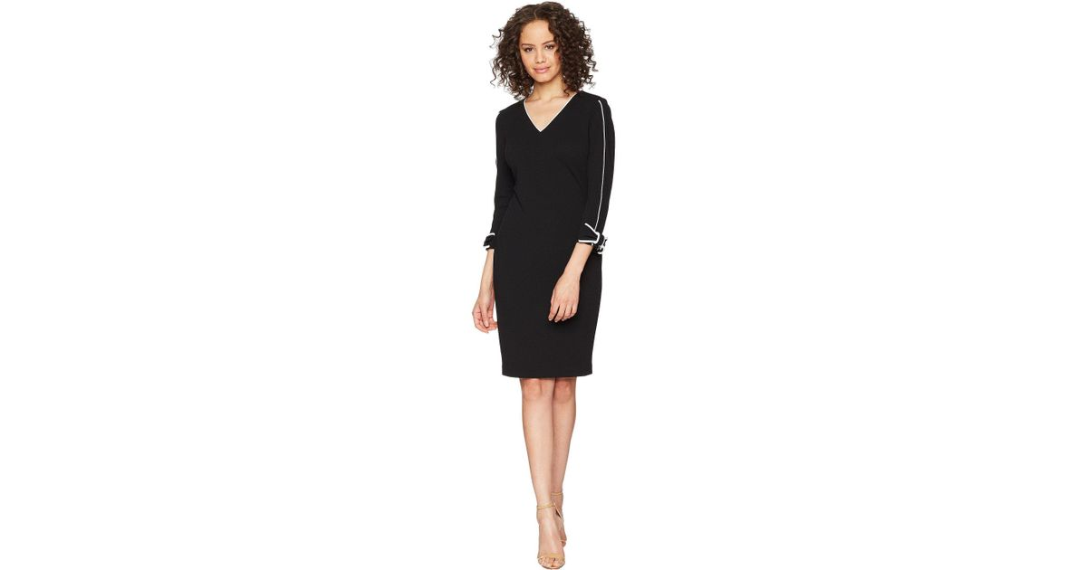 Lyst Calvin Klein Long Sleeve With Tie Cuff And Piping Detail