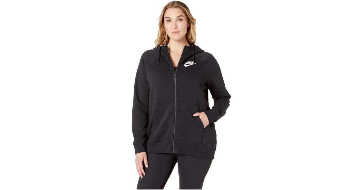 0a1d97e0e96e Lyst - Nike Plus Size Rally Full Zip Extended Hoodie in Black - Save  19.230769230769226%