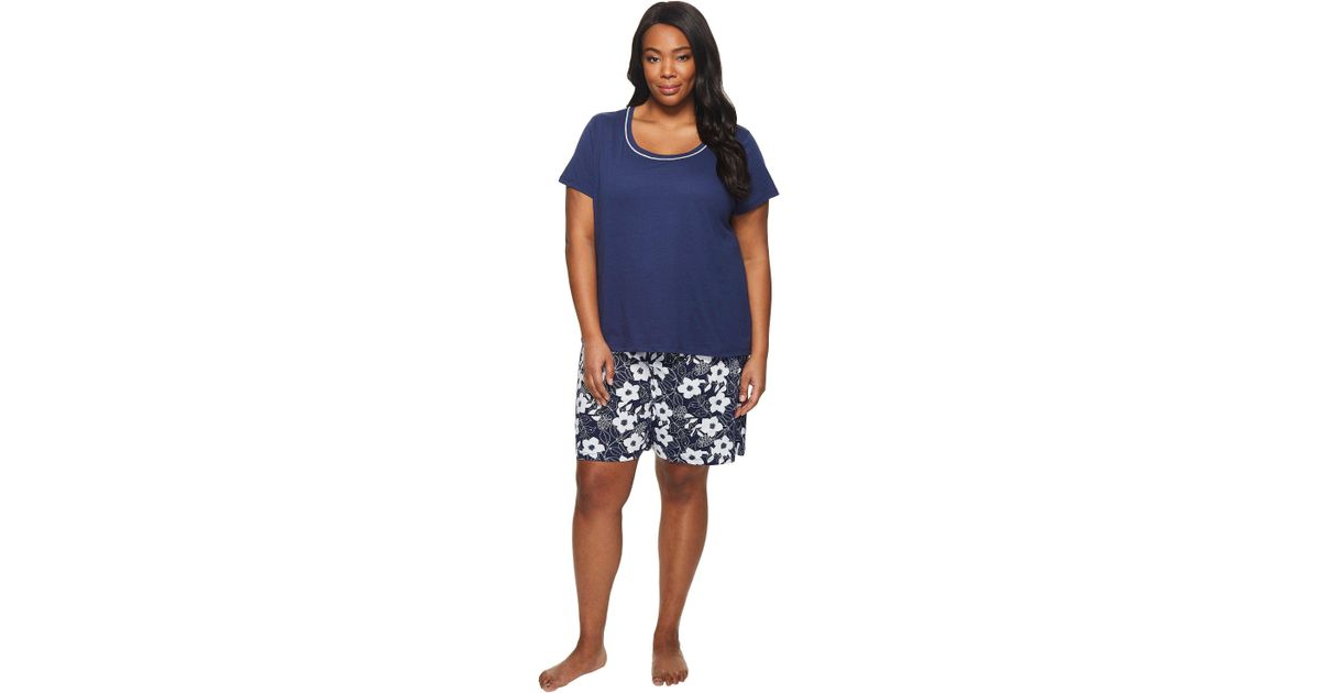00859b1517f Lyst - Jockey Plus Size Two-piece Bermuda Set (navy Top batik Floral)  Women s Pajama Sets in Blue