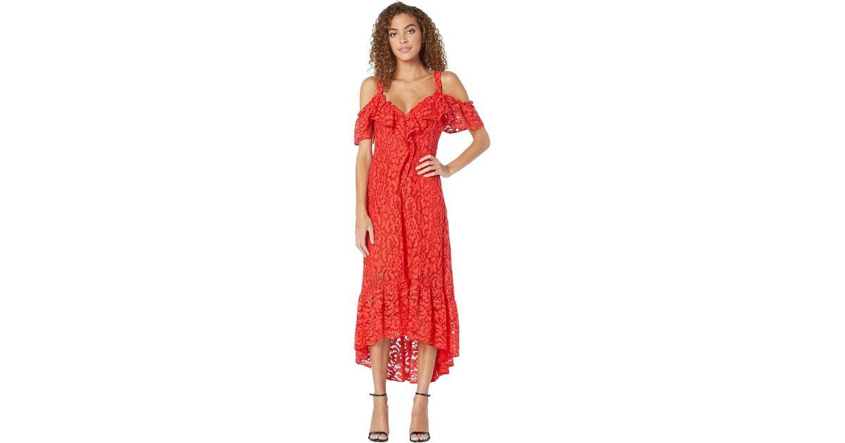 92267111d76 BCBGMAXAZRIA High-low Lace Dress (scarlet) Women's Dress in Red - Lyst