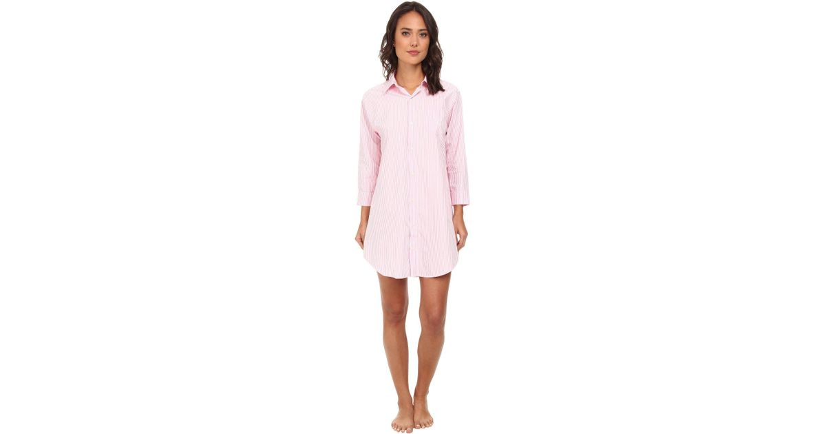 Lyst - Lauren by Ralph Lauren Essentials Striped His Shirt (carissa Bengal  Stripe Pink Hyacinth white) Women s Pajama in Pink d8e44366f