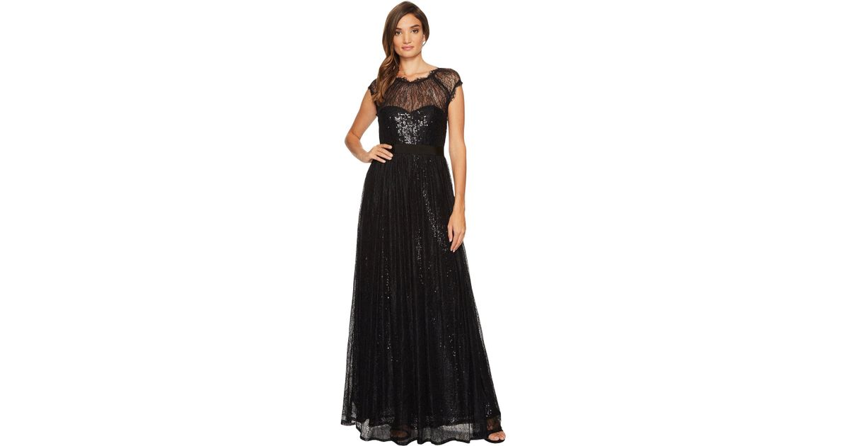 Lyst - Adrianna Papell Long Sequin Gown With Chantilly Lace Overlay ...
