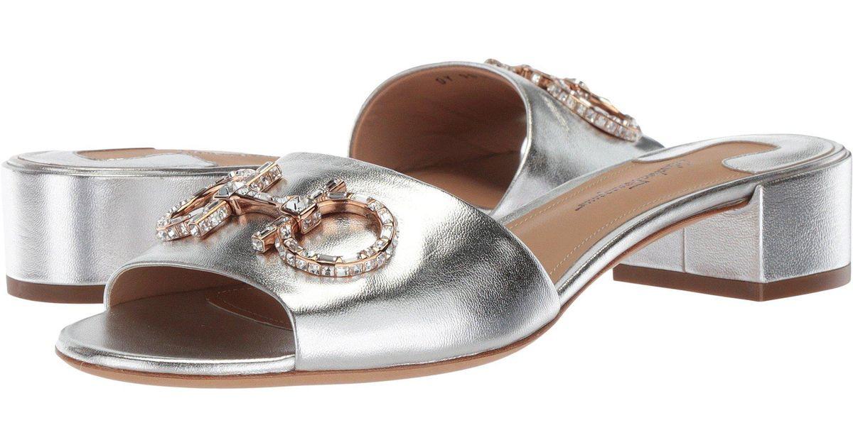 Ferragamo Logo Salvatore Chaussures À Glissière Métallique En Soie Argent Et Cuir Nappa 071kH