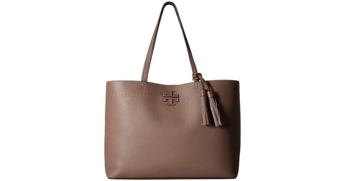 e3fe5c5aa06 Lyst - Tory Burch Mcgraw Tote (silver Maple malachite) Tote Handbags in  Brown