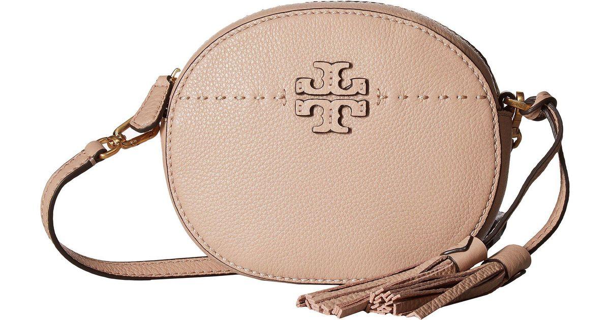 755670dd26a7 Lyst - Tory Burch Mcgraw Round Crossbody (cassia) Cross Body Handbags in  Natural