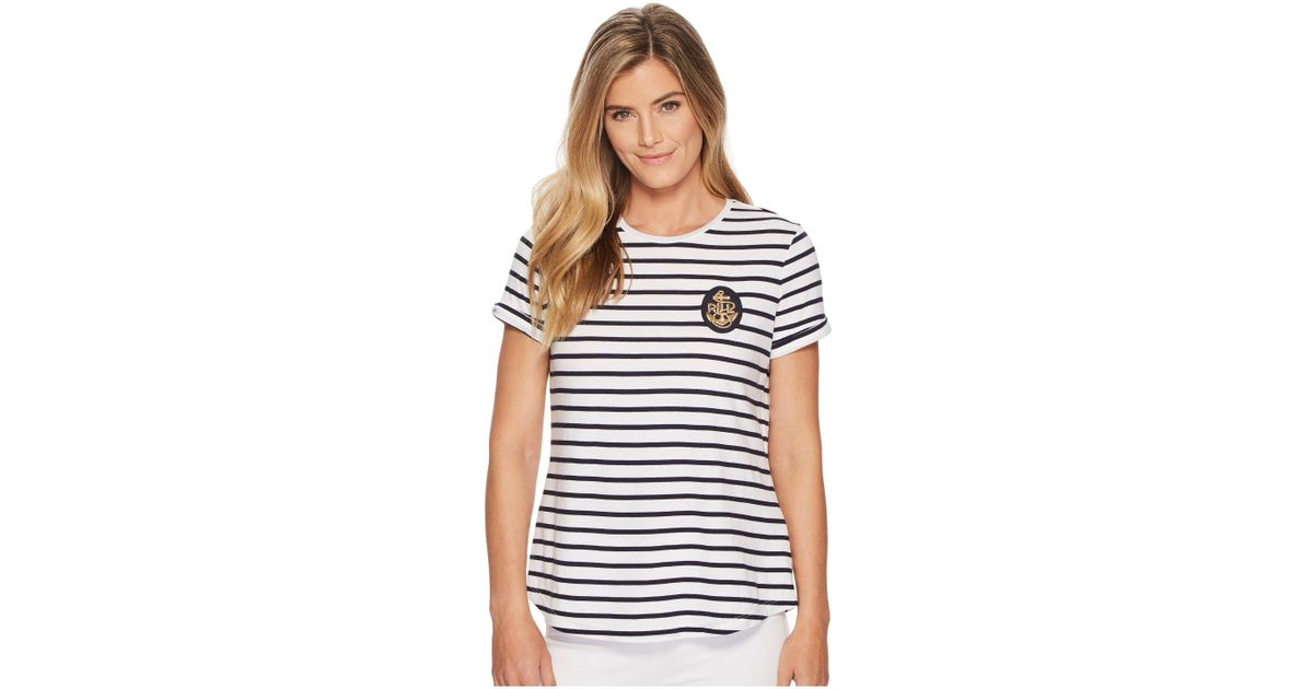 3f0de646454cd Lyst - Lauren by Ralph Lauren Bullion-patch Striped T-shirt in Blue