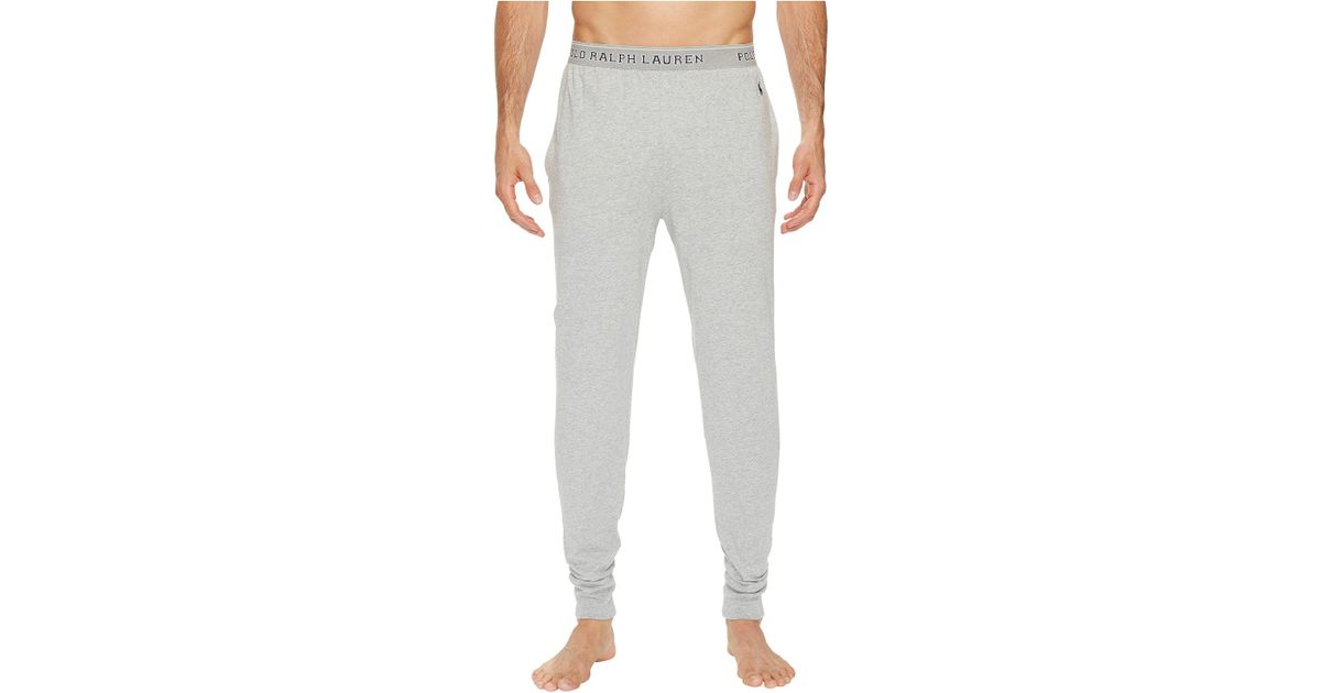 31c785830 Lyst - Polo Ralph Lauren Knit Jersey Jogger Pants (andover Heather cruise  Navy Pony Player) Men s Pajama in Gray for Men