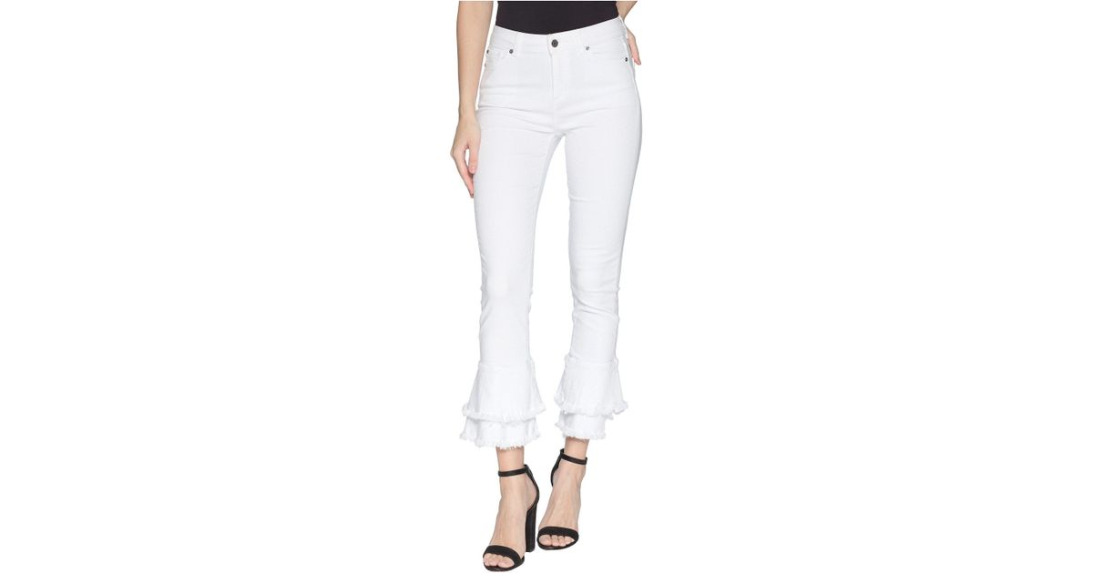 076e61c5581 STATE Five-pocket Ruffle Frayed Hem Skinny Jeans In Ultra White in White -  Lyst