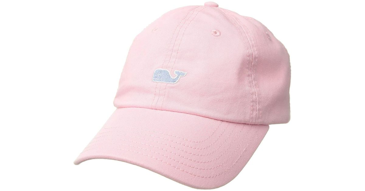 90e081655c1 Lyst - Vineyard Vines Suede Logo Baseball Hat (flamingo) Baseball Caps in  Pink
