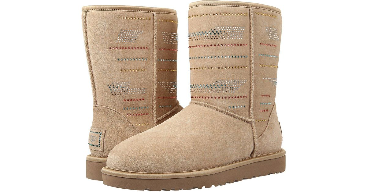 Lyst - Ugg Classic Short Serape Bling (sand Twinface) Women's Pull-on Boots in Natural