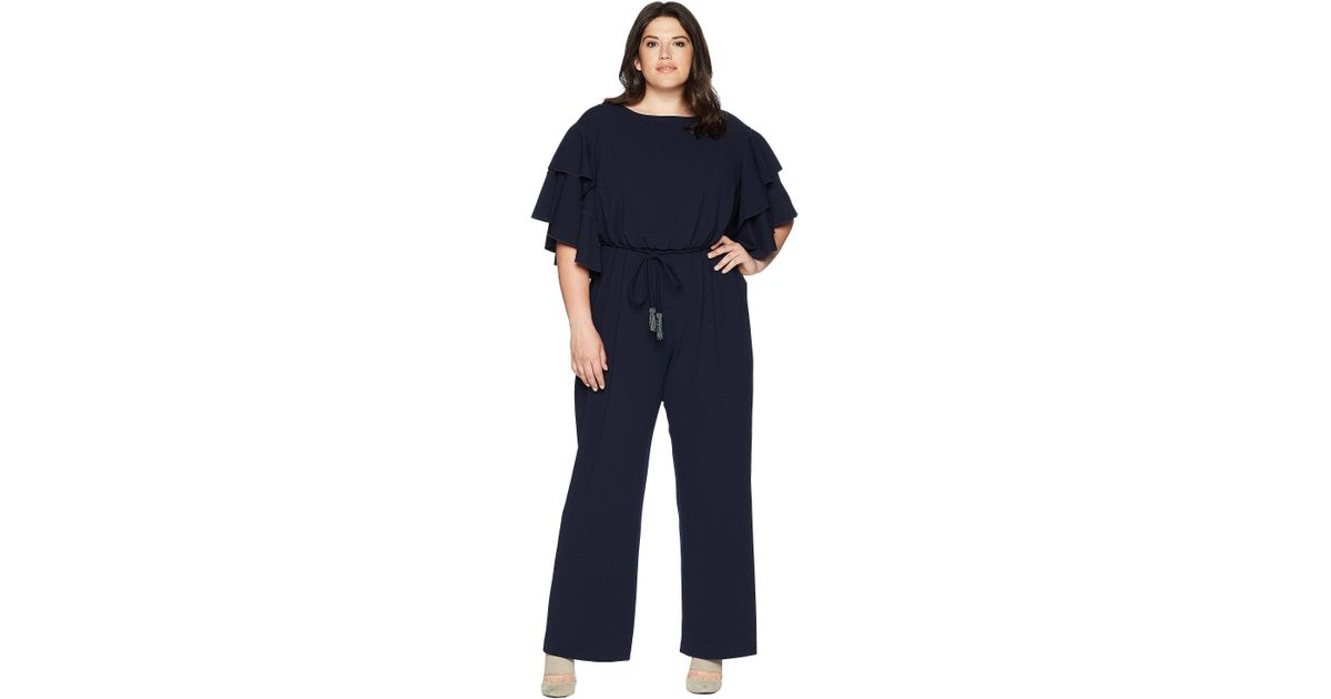 8ef70461ea7 Lyst - Adrianna Papell Plus Size Blouson Ruffle Sleeve Jumpsuit in Blue -  Save 43%