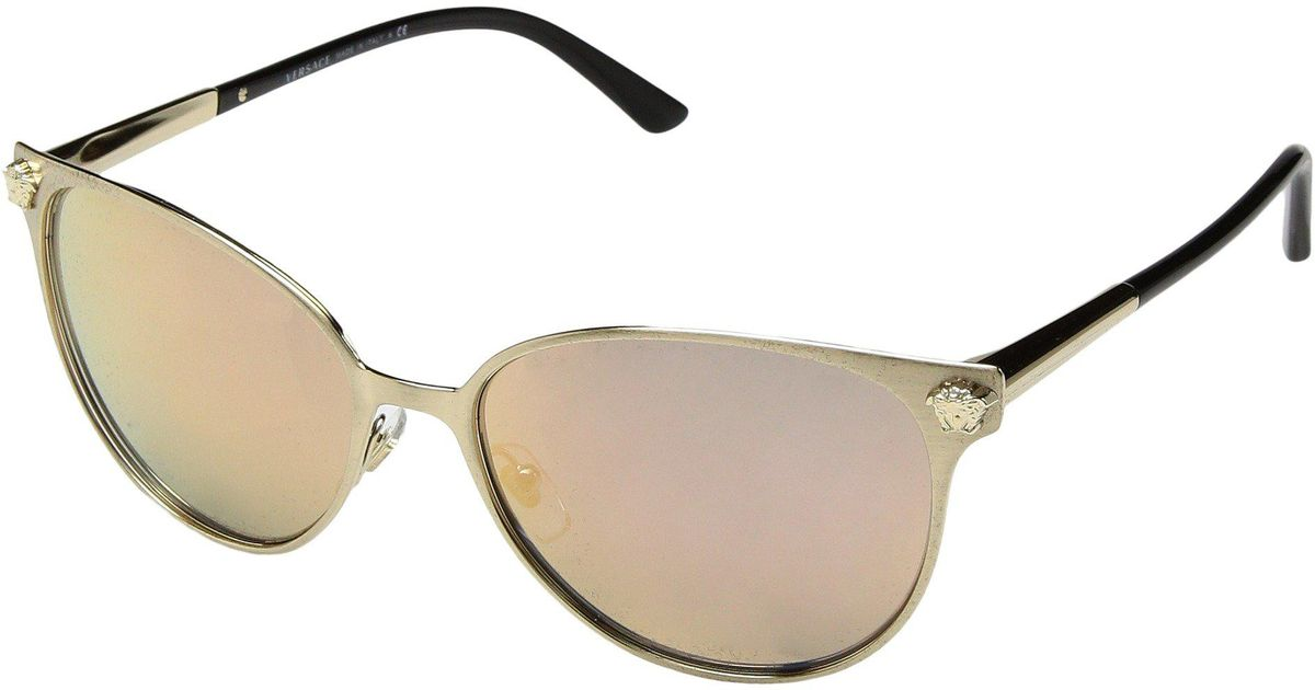 8e3e925836d Lyst - Versace Ve2168 (brushed Pale Gold grey Mirror Rose Gold) Fashion  Sunglasses in Metallic