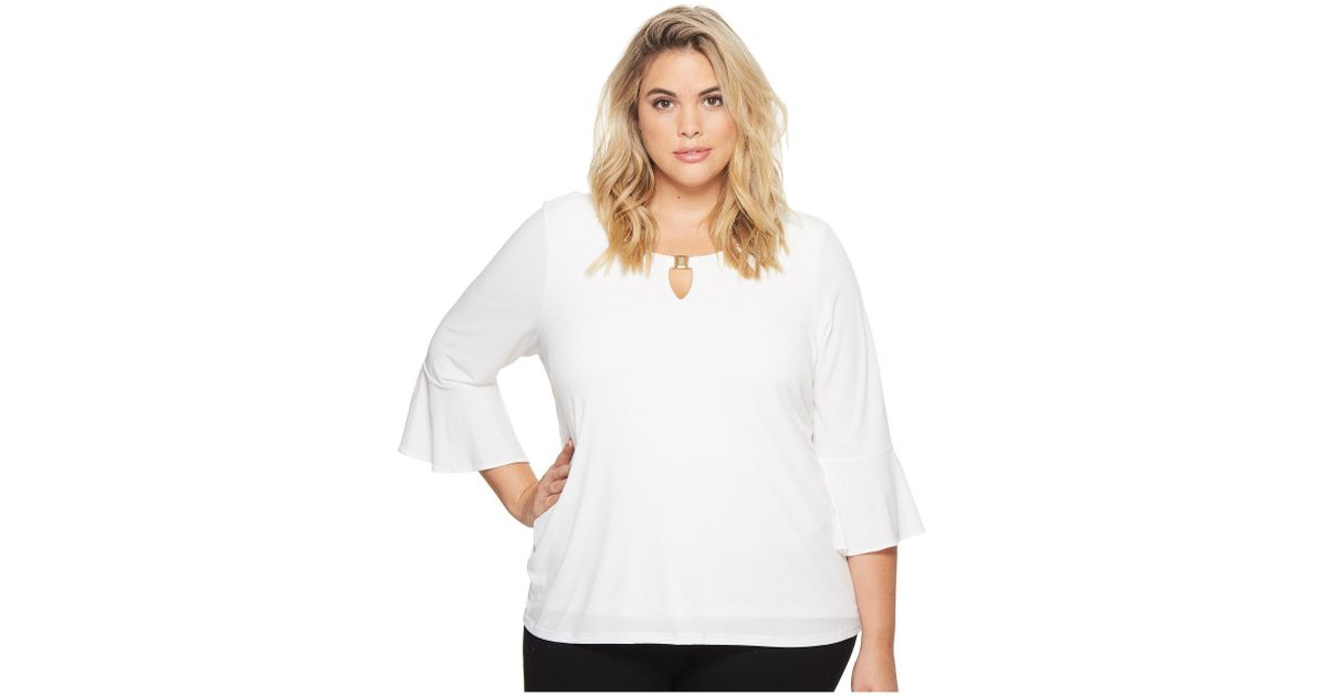 46cfe8e0e93 Lyst - Calvin Klein Plus Size Ruffle Sleeve Top With Bar Hardware in White