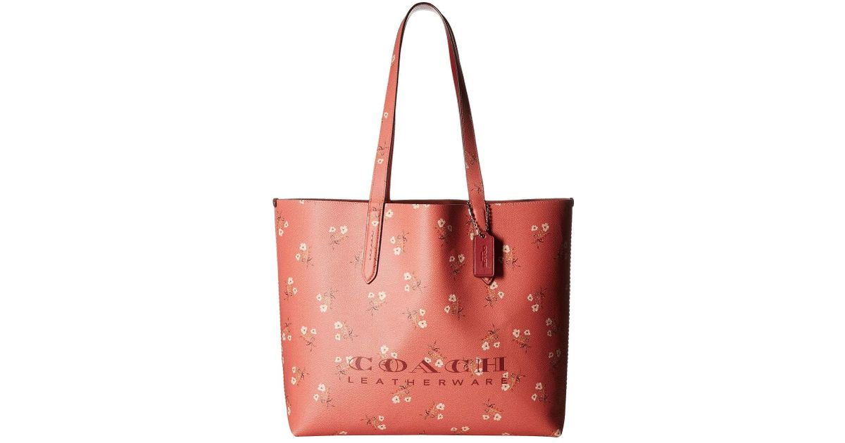 876ef106fc4 COACH Floral Print Highline Tote (beechwood/gold) Handbags in Red - Lyst