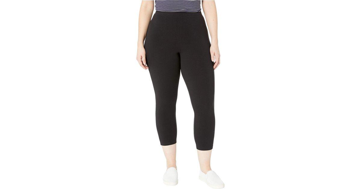 b7aa17e25b4 Lyst - Hue Plus Size Wide Waistband Blackout Cotton Capri Leggings (black) Women s  Casual Pants in Black