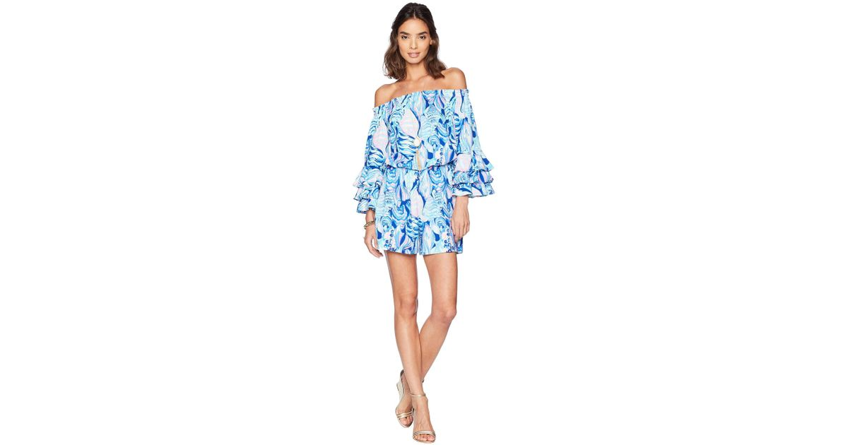 bf3a23a4faea Lyst - Lilly Pulitzer Calla Romper (twilight Blue Scale Up) Women s  Jumpsuit   Rompers One Piece in Blue