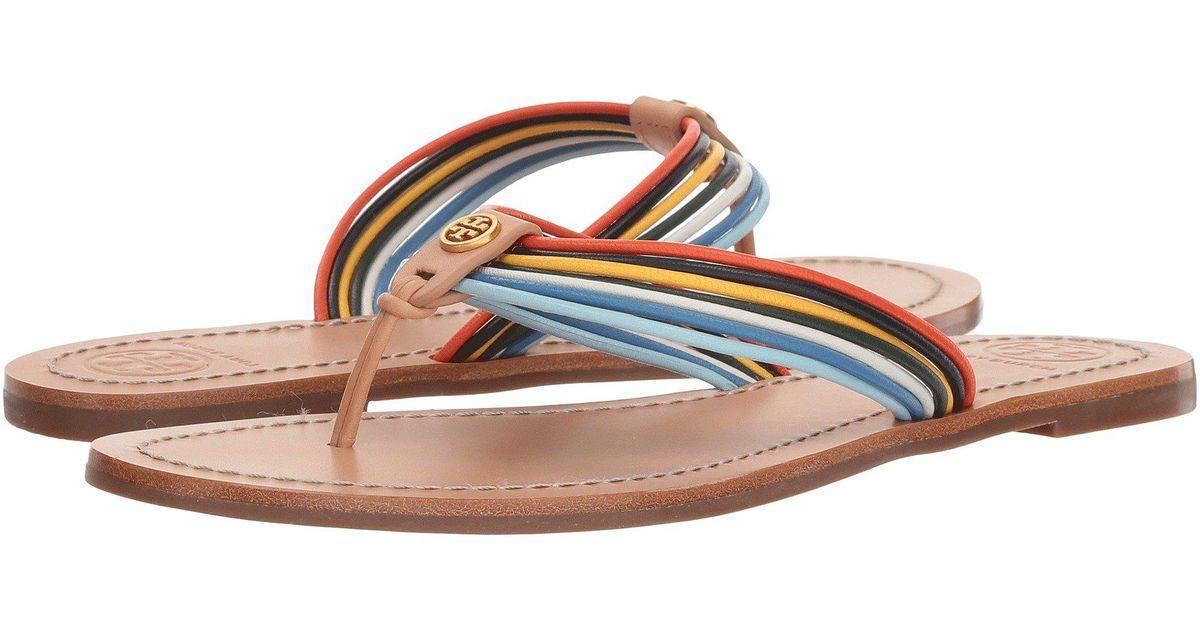 76567fc42e2 Lyst - Tory Burch Sienna Thong Sandal (multi natural Vachetta) Women s  Sandals