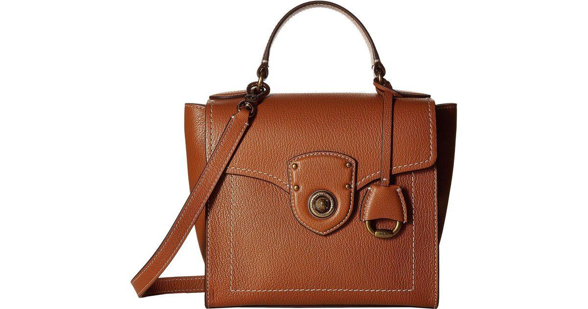 ec0f2d9458 Lyst - Lauren by Ralph Lauren Millbrook Top Handle Crossbody Satchel  (bourbon) Handbags in Brown