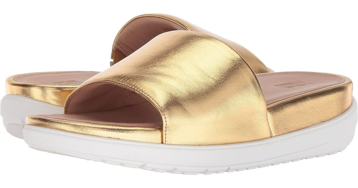 0c13c316570f2 Lyst - Fitflop Loosh Luxetm Leather Slide Sandals (gold Metallic Leather) Women s  Shoes in Metallic